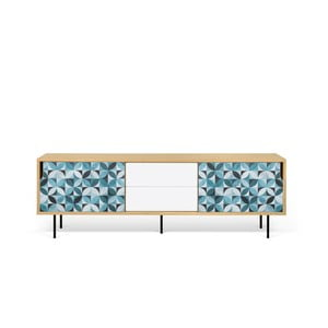 TV stolek v dekoru dubu s kovovýma nohama TemaHome Dann Morocco
