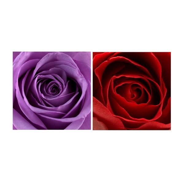 Set obrazů na skle Růže, 20x20 cm, 2 ks