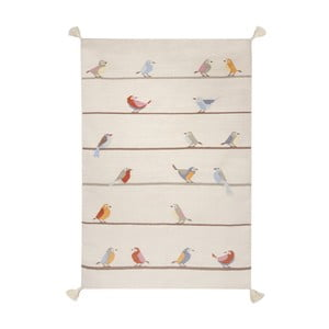 Ručně tkaný béžový vlněný koberec Art For Kids Birds,160x230cm