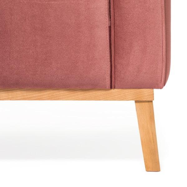 Pudrově růžová 3místná sedačka pravý roh Vivonita Milton Trend