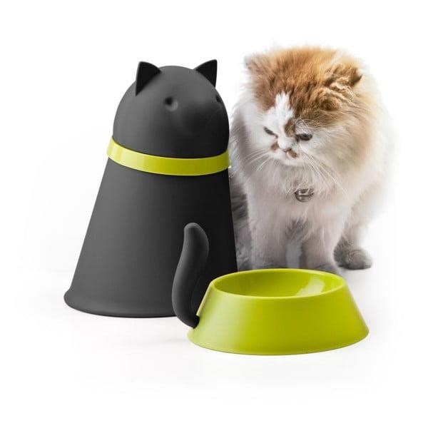 Miska se zásobníkem pro kočky QUALY Kitt, černá