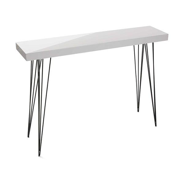 Biely drevený stolík Versa Dallas, 110 × 25 cm