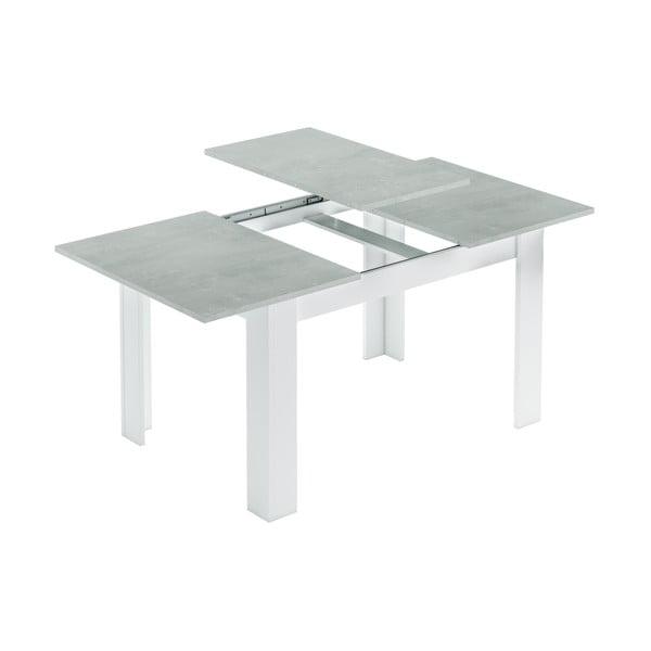 Bílý rozkládací jídelní stůl s deskou z betonu Evergreen House