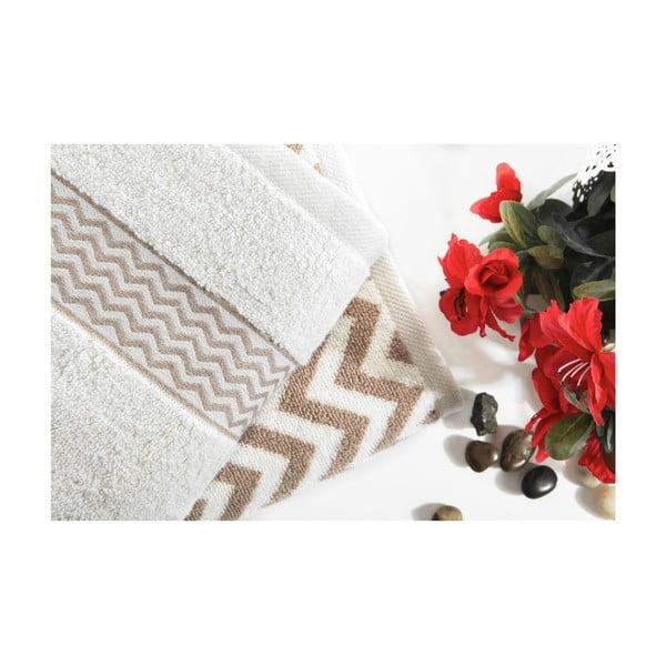 Sada 2 bavlněných hnědo-bílých ručníků Ladik Ella,50x90cm