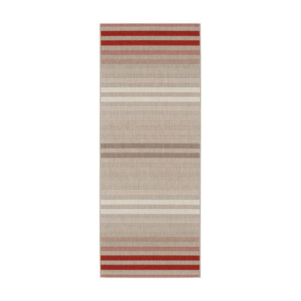 Covor potrivit pentru exterior Bougari Paros, 80 x 200 cm, crem - roșu