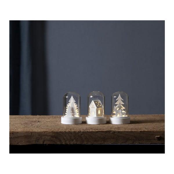 Zestaw 3 dekoracji LED Best Season Kupol, wys. 8,5 c,m