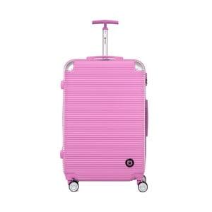 Růžový cestovní kufr na kolečkách Teddy Bear Monica, 107 l