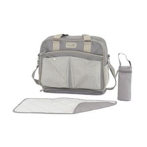 Světle šedá mateřská taška s přebalovací podložkou a vakem na láhev Tanuki