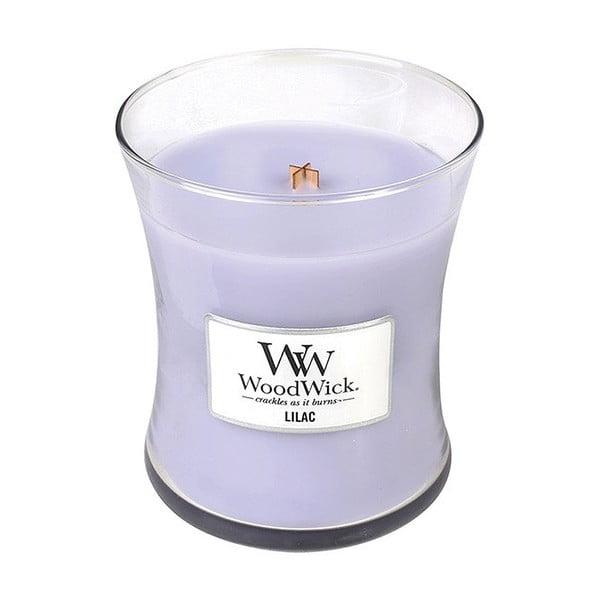 Svíčka s vůní šeříku WoodWick, dobahoření60hodin
