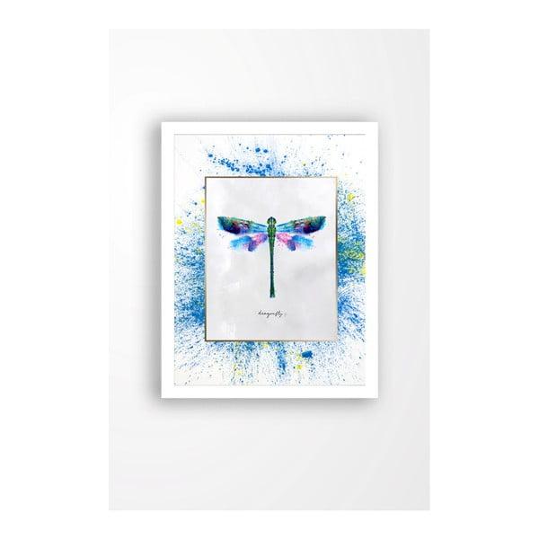 Tablou pe pânză în ramă albă Tablo Center Dragonfly, 29 x 24 cm