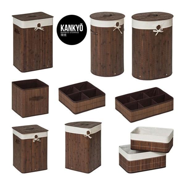 Hnědý bambusový organizér se 4 přihrádkami Premier Housewares Kankyo