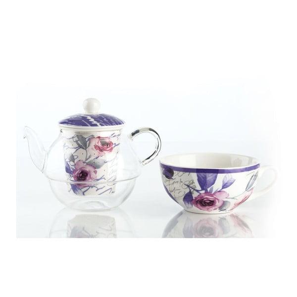 Čajový set Violet - konvička a hrnek