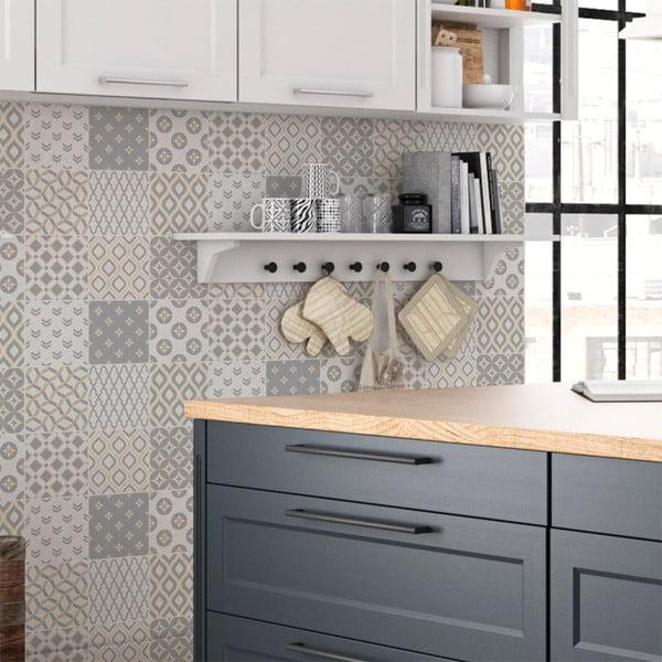 Zestaw 9 naklejek ściennych Ambiance Wall Decal Scandinavian Cement Tile Samtida, 10x10 cm