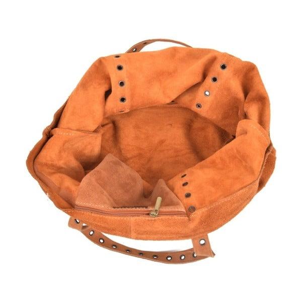 Koňakově hnědá kožená kabelka Luisa Vannini Sutra