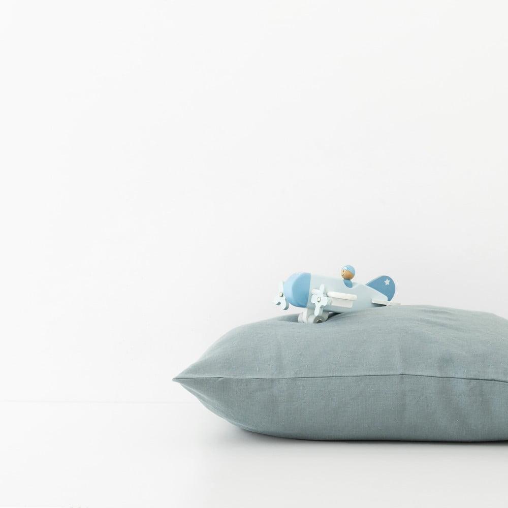 Dětský modrý lněný povlak na polštář Linen Tales Nature, 40 x 45 cm