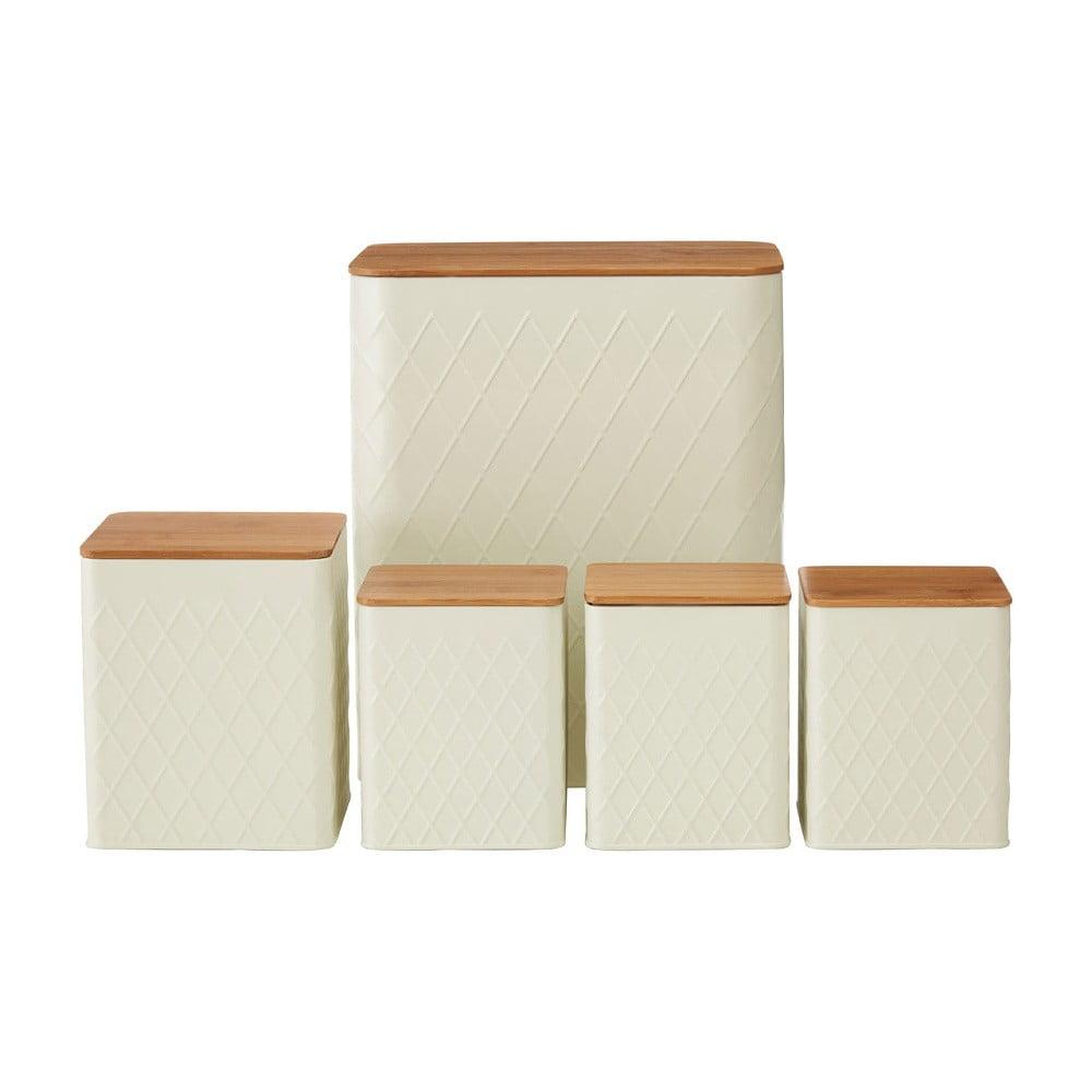 Sada 5 krémových dóz s bambusovým víčkem Premier Housewares Rhombus