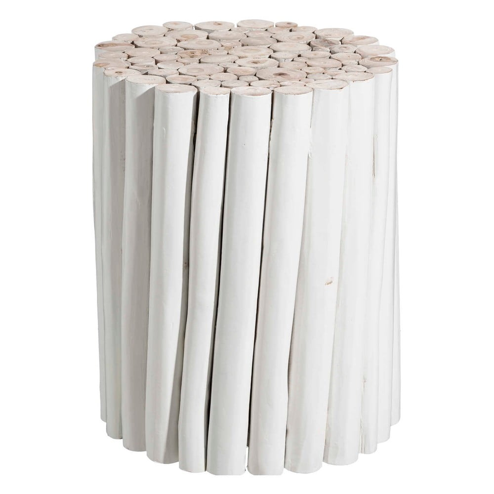 Bílý odkládací stolek z týkového dřeva Tropicho