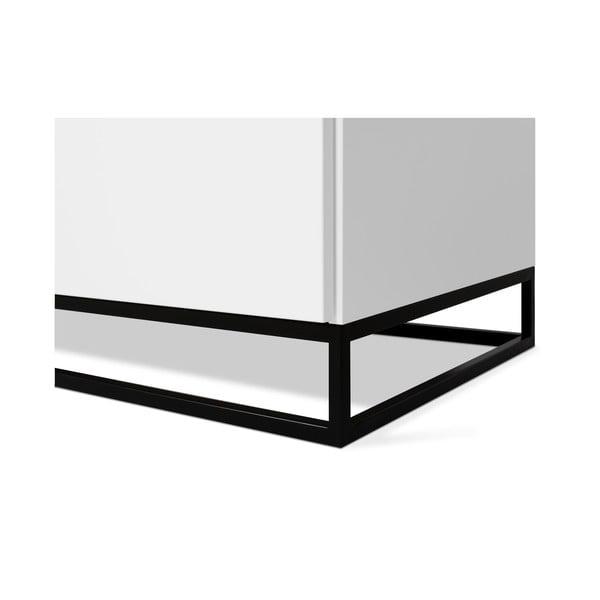Bílá komoda s bílou deskou s 3 šuplíky a 3 policemi a černýma nohama TemaHome Join