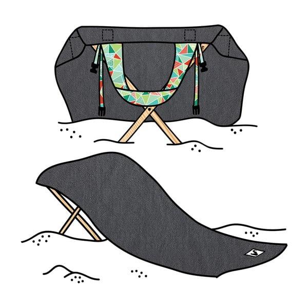 Skládací plážové lehátko a osuška v jednom Sun Seat Basalt Geo