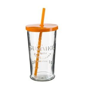 Sada 4 sklenic s oranžovým víčkem a brčkem SUMMER FUN II, 500ml