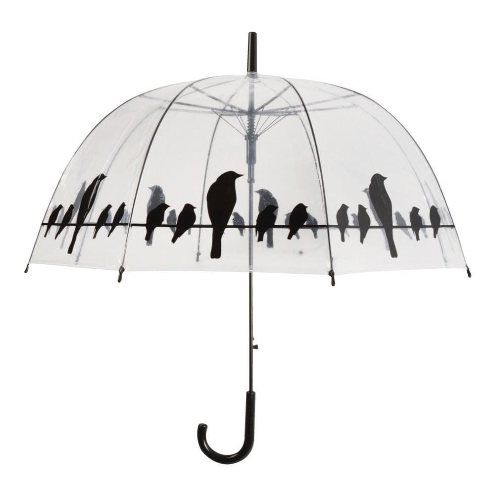 Transparentní holový deštník Esschert Design Birds, ⌀83cm