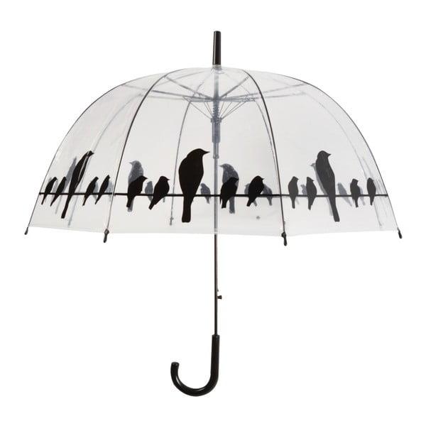 Transparentný dáždnik s rúčkou Esschert Design Birds, ⌀ 83 cm