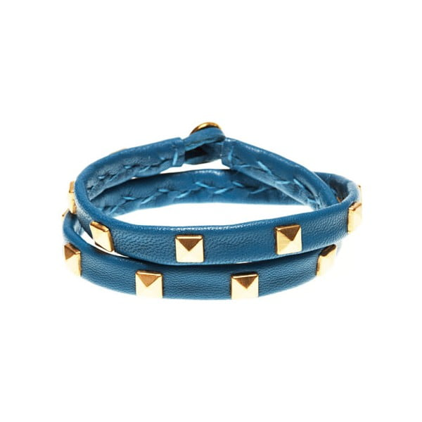 Náramek Leather stud double gold, blue