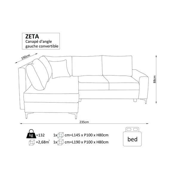 Hnědá rozkládací rohová pohovka Windsor & Co Sofas Zeta, pravý roh