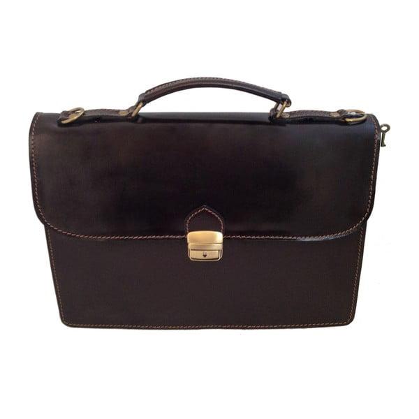 Tmavě hnědá kožená taška Irene
