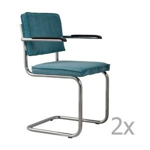 Sada 2 modrých židlí s područkami Zuiver Ridge Rib