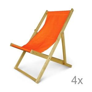 Sada 4 dřevěných nastavitelných lehátek JustRest, oranžové