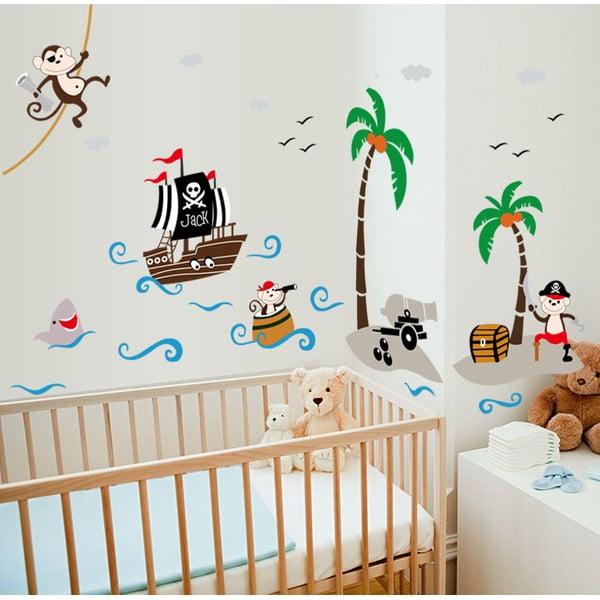 Nástenné detské samolepky Ambiance Fantastic Pirate And Boat
