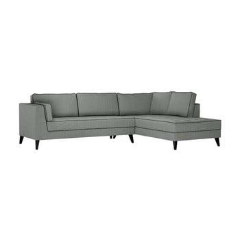 Canapea cu detalii negre Stella Cadente Maison Atalaia, pe partea dreaptă, gri de la Stella Cadente Maison
