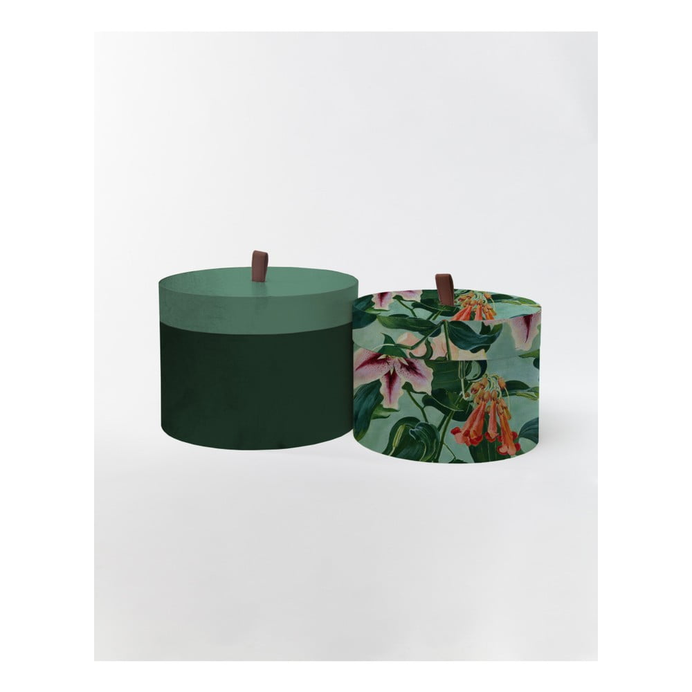Sada 2 kulatých úložných boxů ze sametu Velvet Atelier Flowers