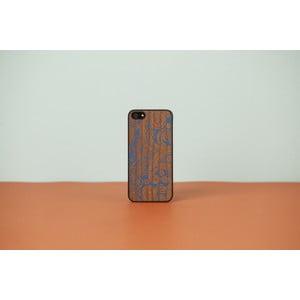Dřevěný obal na iPhone 4 Damasked, blue