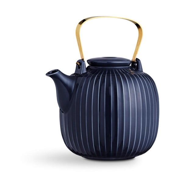 Tmavomodrá porcelánová čajová kanvica Kähler Design Hammershoi, 1,2 l