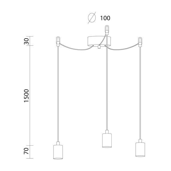 Bílé závěsné svítidlo se 3 kabely Bulb Attack Cero Basic