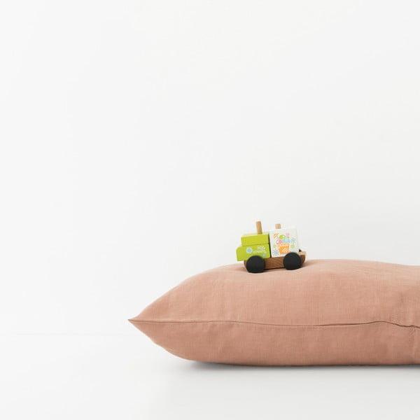 Brązowoterakotowa lniana poszewka na poduszkę Linen Tales, 70x90 cm