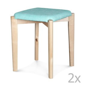Sada 2 modrých taburetek Opjet Astrid