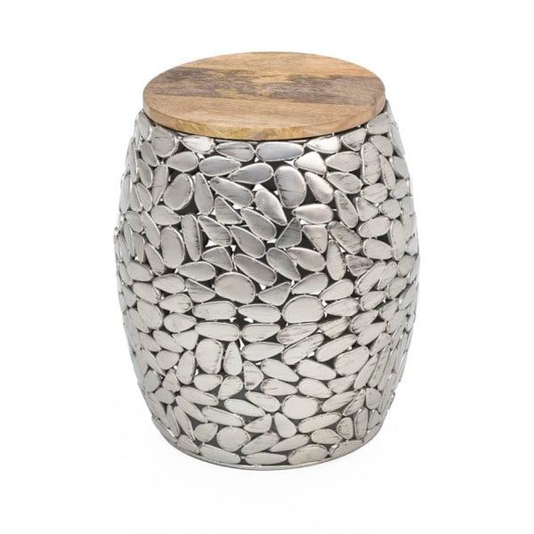 Stolik w srebrnym kolorze z drewnianym blatem WOOX LIVING Pebble, ⌀ 40 cm