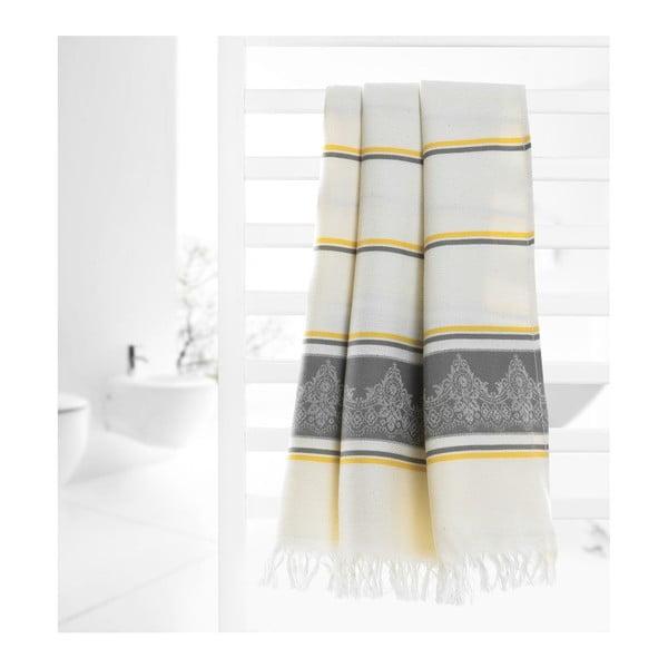 Šedobéžová hammam osuška Deco Bianca Loincloth Grey Stripe, 80x170cm