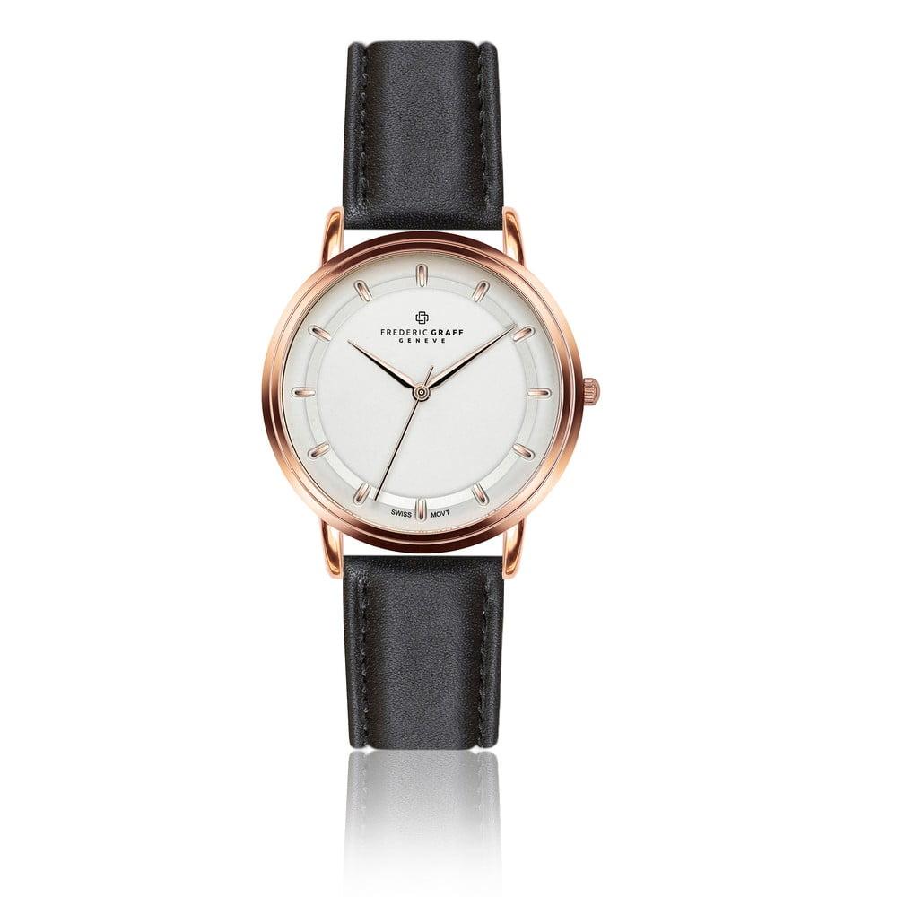 Unisex hodinky s černým páskem z pravé kůže Frederic Graff Thelma