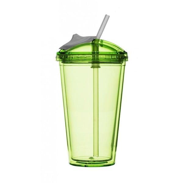 Zelený hrnek s brčkem na smoothie Sagaform