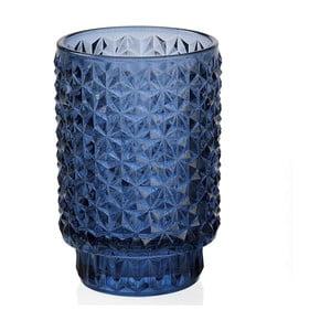 Modrý skleněný svícen Andrea House Azuro, 8,5 x 13 cm