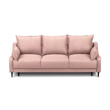 Canapea extensibilă cu 3 locuri și spațiu pentru depozitare Mazzini Sofas Ancolie, roz de la Mazzini Sofas