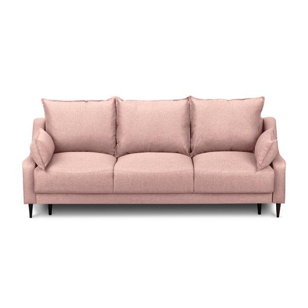 Ružová rozkladacia trojmiestna pohovka s úložným priestorom Mazzini Sofas Ancolie