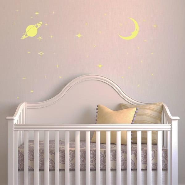 Ve tmě svítící samolepka WALPLUS Měsíc a hvězdy