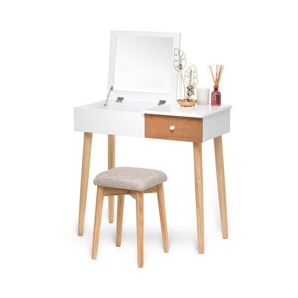 Masă de toaletă cu oglindă, cutie de bijuterii și scaun și Chez Ro Beauty, alb