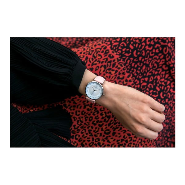Dámské hodinky s růžovým páskem z pravé kůže Frederic Graff Marissol