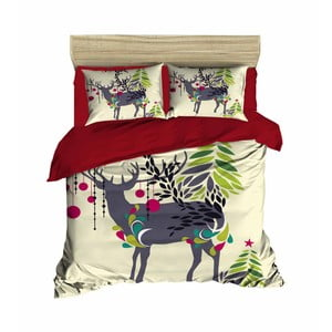 Lenjerie de pat cu cearșaf Christmas Reindeer, 200 x 220 cm